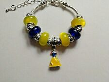 Toddler/Child Handmade Silver Bracelet with an Enamel SNOW WHITE DRESS and Beads