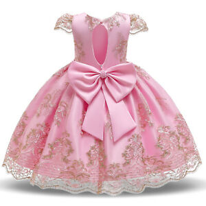 Flower Girl Dress Kids Lace Bow Beading Party Tutu Birthday Princess Gown