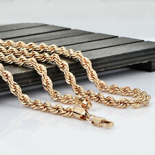 mens solid 14k gold plated rope twist long chain hip hop wholesale chain 25inch