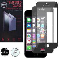 2X Schutzglas für Apple iPhone 5/ 5S/ SE Echtglas Display Schutzfolie SCHWARZ