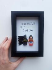 Batman Wonder woman Boyfriend Husband Anniversary Birthday lego frame Gift