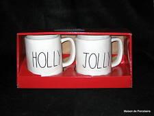 """RAE DUNN ARTISAN COLLECTION CHRISTMAS GIFT BOX 2 MUGS """"HOLLY"""" """"JOLLY"""" 2016"""