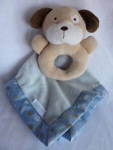 Carter's Puppy Dog Paw print Rattle Lovey blanket security toy minky satin