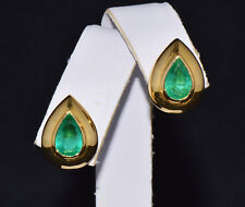 Certified Natural 3Cts Colombian Emerald 18K Solid Gold Italy Dome Stud Earrings