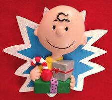 """Peanuts 3X3"""" Charlie Brown with Gift Figurine Ornament"""