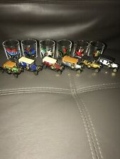 Vintage Shot Glasses X 6 Vintage Cars,bar ware,man cave,collector,1970's With 6
