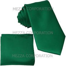 New formal men's necktie & hankie set solid color polyester party emerald green