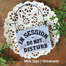 Mini DoorknobSign * IN SESSION Do Not Disturb Door Knob Ornament PLAQUE Grey USA