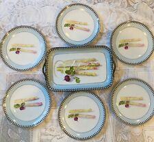 Art Deco Noritake China Asparagus Tray w/Handles and 6 Plates Japan