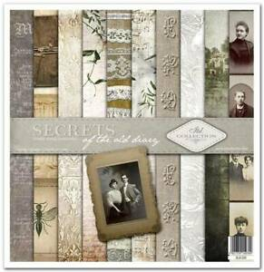 """11.8"""" x 12.1"""" scrapbooking paperpad cardstock Secrets of the old diary 11 sheets"""
