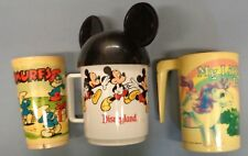 3 VINTAGE Kids Cups MICKEY MOUSE EARS LITTLE PONY SMURF Disneyland Hasbro art