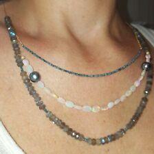 Triple Labradorite blue Diamond fire Opal Tahitian pearl 14k gold necklace