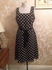 Debenhams Petite Black Spotted Dress Size 14