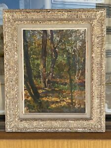 VINTAGE FRAMED IMPRESSIONIST LANDSCAPE WOODS OIL ON BOARD SIGNED SAMUEL MIRSKY