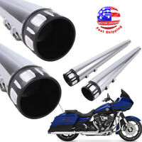 """4"""" Megaphone Exhaust Pipes Mufflers Slip-On For Harley Road Street Electra Glide"""