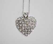 14KT White Gold Multi Heart Necklace