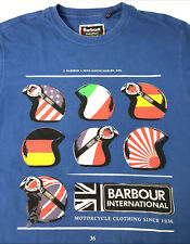 Barbour Small Motorcycle Helmet Spell Out Logo T Shirt Cotton Mens