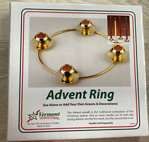 """NEW Advent Ring By Vermont Christmas Company VC904 Brass-like Color 6"""" Diameter"""
