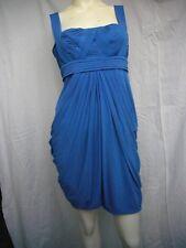 BCBG Maxazria Pleated Top LRKSPR Blue Cocktail Dress Size Medium