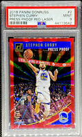 Stephen Curry 2018-19 Panini Donruss Press Proof Red Laser 75/99 SP PSA 9 POP 1