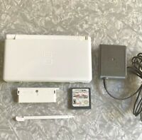 Nintendo DS Lite White Handheld Console w/ Mario Kart + OEM Charger TESTED