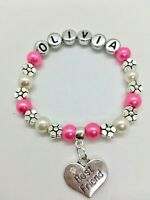 Personalised BEST FRIEND girls kids charm bracelet + gift bag 30+ colour choice