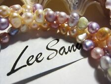 """NEW! Beautiful Lee Sands PASTEL Sorbet Pearl Necklace 20""""in 925 Sterling SILVER"""