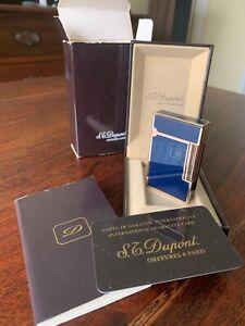 S.T. Dupont L2 Lighter Gold Blue Lacque de Chine gorgeous, serviced & boxed