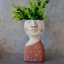 Modern Girl Face Head Concrete Pot Planter, 20cm Indoor Outdoor Garden Home D...