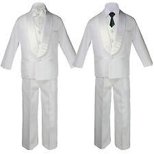 5-7pc Baby Boy White Satin Shawl Lapel Suit Tuxedo BLACK Satin Bow Necktie Vest