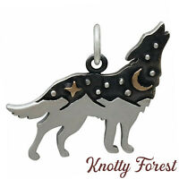Celestial Sterling Silver HOWLING WOLF CHARM Pendant Bronze Moon Stars Mountains