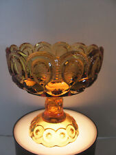 VINTAGE LE SMITH MOON & STARS AMBER GLASS PEDESTAL OPEN COMPOTE