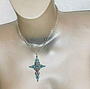 "Vintage southwestern turquoise cross pendant necklace 14"" total length 28"""
