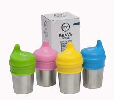BravaWare Stainless Steel 8 oz Cup + Sippy Lids Set of 4 Bundle Free Ship Kids
