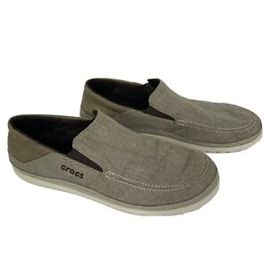 Crocs Dual Comfort Men's Size 13 tan fabric loafers shoes slip on