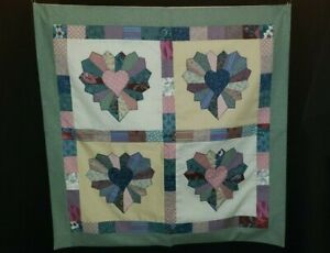 """Handmade Art Applique 26"""" x 26"""" Quilt Wall Hanging Heart Applique"""