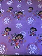 Nickelodean Dora The Explorer And Boots Twin Flat Sheet Fabric Crafts Purple