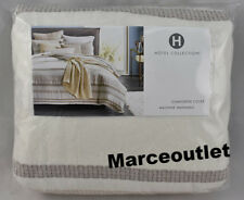 Hotel Collection Honeycomb Stripe FULL / QUEEN Duvet Cover Oatmeal