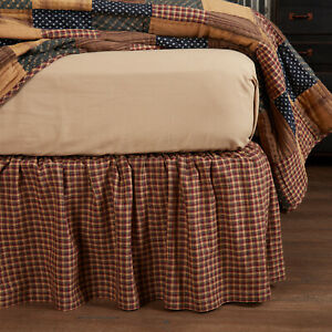 """VHC Brands Patriotic Patch Primitive Twin Bed Skirt Red Tan Navy Plaid 39x76x16"""""""
