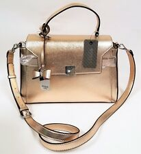 GUESS JUDSON PINK ROSE GOLD FAUX HARD SAFFIANO LEATHER,BOW SATCHEL,CROSSBODY,BAG