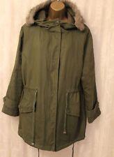 Hearts & Bow Hooded Quilted Lining Pockets Flap Longline Khaki Parka Coat 10 38