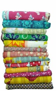 Indian Vintage Kantha Quilt Reversible Handmade Bedspreads Bed Cover Bedding