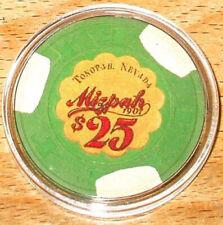 (1) $25. MIZPAH Casino Chip - Tonopah, Nevada - 1984