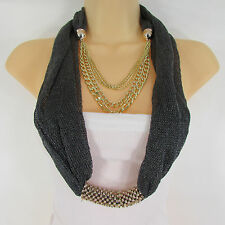 New Women Gold Metal Chains Fashion Necklace Infinity Pewter Fabric Scarf