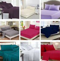 Luxury Poly Cotton Fitted Sheets Flat Sheet Single Double King Super King Size