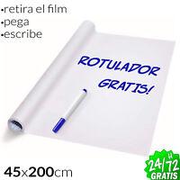 Vinilo Pizarra Blanca Adhesiva para Escribir y Borrar + Rotulador Regalo Durable