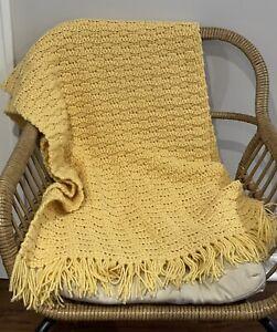 Vintage Handmade Afghan Crochet Blanket Throw Mustard Gold Yellow w/ Fringe Boho