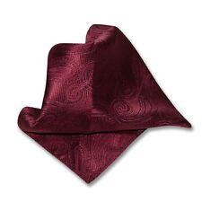 Burgundy Paisley Design Hankerchief Pocket Square Hanky Men's Handkerchiefs