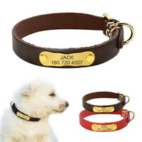Personalized Leather Small Dog Collar with Custom ID Name Engraved Nameplate