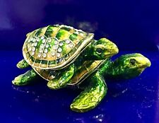 Mother And Baby Sea Turtle Trinket Box with Swarovski Crystals NEW